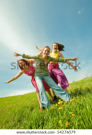 Mom and two Daughter Having Fun