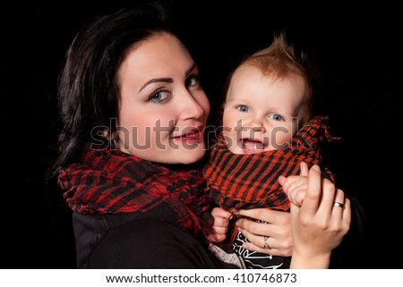 mom and young boy son in foto studio