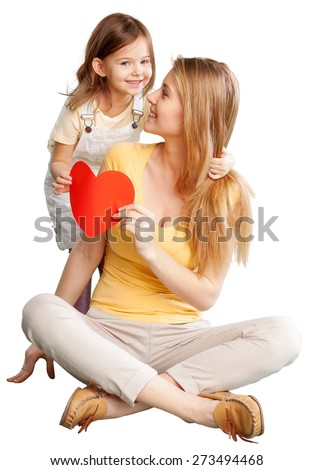 Mom. Childhood, parenting and relationship concept - happy mother with adorable little girl and red heart - stock photo