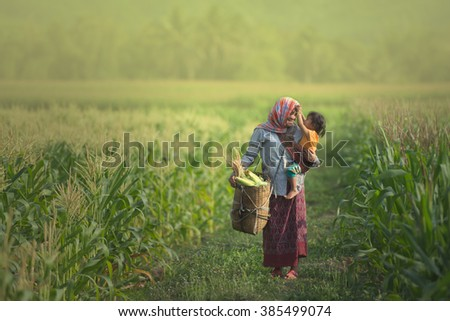 Mom is playing with child on sunshine spring summer day , parent love - stock photo