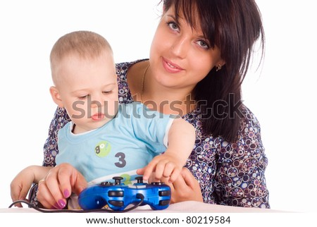 mom playing with kid on a white background