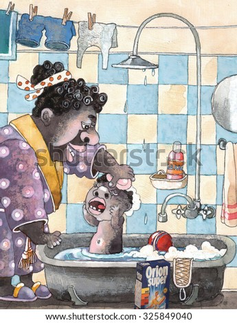 "mom washes boy in the bathroom he cries foam water tile to dry things shower Bathrobe emotions people mirror hanging towel is on the floor washing detergent that says ""super orion"" art watercolor - stock photo"