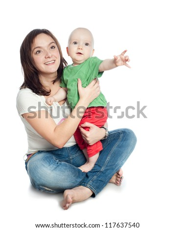 Mom with baby, a white background - stock photo