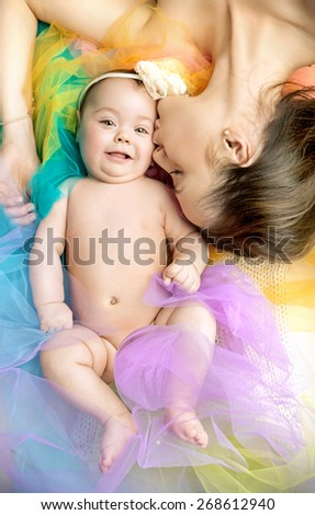 Mom with her little baby - stock photo
