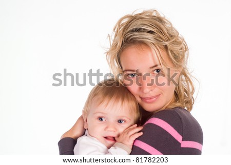 mom with her son on a white - stock photo