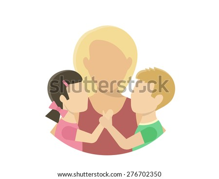 Mom with two kids. Flat illustration on white - stock photo