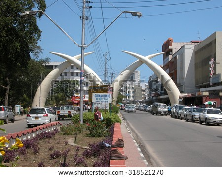 "MOMBASA - NOVEMBER 22: Symbolic ""Tusks"" in city center on November 22, 2007 in Mombasa, Kenya. The tusks were built to commemorate the visit of Queen Elizabeth to the town in 1952. - stock photo"