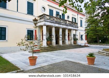 Mon Repo palace at Corfu island in Greece - stock photo