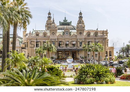 MONACO - AUGUST 31, 2012: View of beautiful fountain with mirror near Grand Casino. Monte Carlo Casino is a gambling and entertainment complex located in Monte Carlo, Monaco.