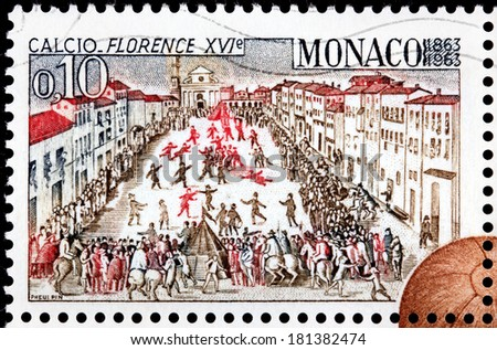 MONACO - CIRCA 1963: A stamp printed by MONACO shows an illustration of the Calcio Fiorentino field and starting positions from a 1688 book by Pietro di Lorenzo Bini, Florence, circa 1963 - stock photo