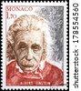 MONACO - CIRCA 1979: A stamp printed by MONACO shows image portrait of famous American physicist Albert Einstein (1879-1955), circa 1979. - stock photo