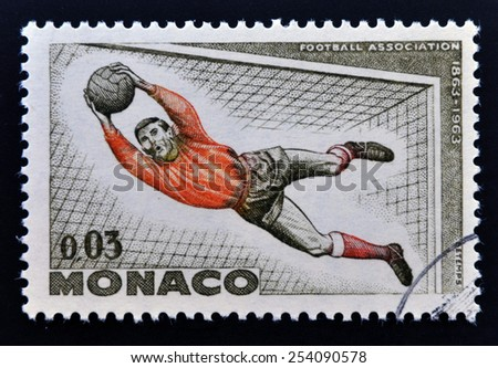 MONACO - CIRCA 1963: A stamp printed in Monaco dedicated to soccer, circa 1963 - stock photo