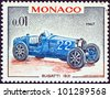 "MONACO - CIRCA 1967: A stamp printed in Monaco from the ""25th Grand Prix, Monaco"" issue shows a Bugatti type 51 Grand Prix racing car of 1931, winner of Monaco Grand prix, circa 1967. - stock photo"