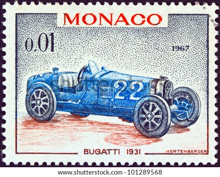 """MONACO - CIRCA 1967: A stamp printed in Monaco from the """"25th Grand Prix, Monaco"""" issue shows a Bugatti type 51 Grand Prix racing car of 1931, winner of Monaco Grand prix, circa 1967. - stock photo"""