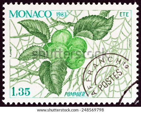 """MONACO - CIRCA 1983: A stamp printed in Monaco from the """"The Four Seasons of the Apple Tree """" issue shows Summer, circa 1983.  - stock photo"""