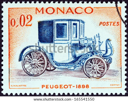 "MONACO - CIRCA 1961: A stamp printed in Monaco from the ""Veteran Cars "" issue shows Peugeot, 1898, circa 1961."