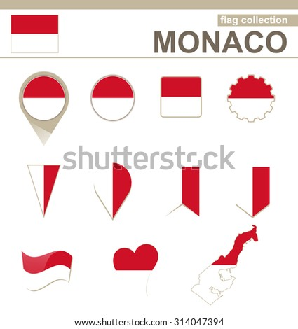 Monaco Flag Collection, 12 versions, Rasterized Copy