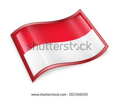 Monaco flag icon, isolated on white background - stock photo