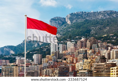 Monaco flag on the background of the city - stock photo