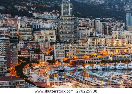 Monaco, France, on March 8, 2015. The top view on the port and the residential area at evening