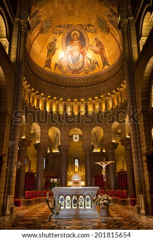 MONACO - JUNE 24, 2014: Interior of the Saint Nicholas Cathedral, Monaco Cathedral. It is a church where many of Grimaldis were buried, including Grace Kelly and Rainier III