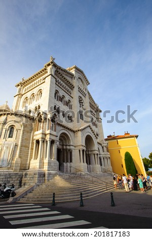 MONACO - JUNE 24, 2014: Saint Nicholas Cathedral, Monaco Cathedral. It is a church where many of Grimaldis were buried, including Grace Kelly and Rainier III