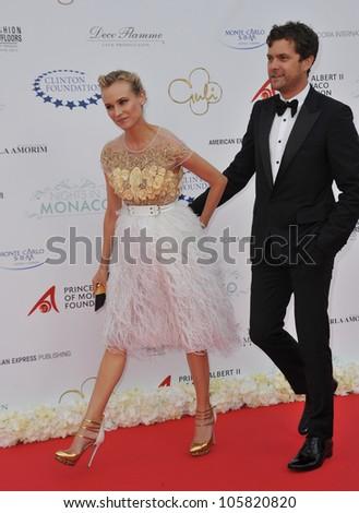 MONACO - MAY 23, 2012: Diane Kruger & Joshua Jackson  at the inaugural Nights in Monaco Gala at the Hotel de Paris, Monte Carlo. May 23, 2012  Monaco - stock photo