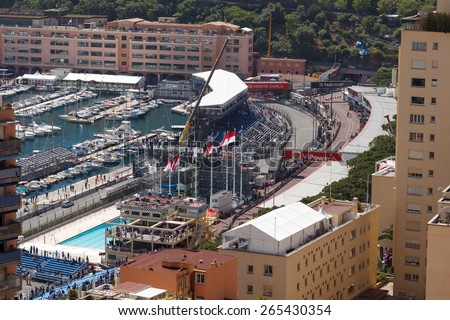 MONACO - MAY 23: Preparation for the qualifying races of Formula 1 Grand Prix de Monaco finishes on May 24, 2014, Monaco.  - stock photo
