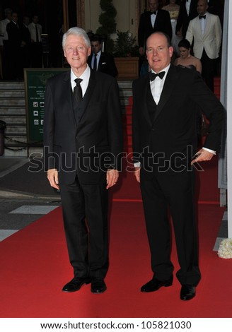 MONACO - MAY 23, 2012: President Bill Clinton & Prince Albert II of Monaco  at the inaugural Nights in Monaco Gala at the Hotel de Paris, Monte Carlo. May 23, 2012  Monaco