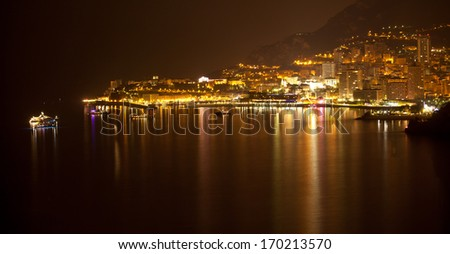 Monaco, Monte Carlo by night with reflection