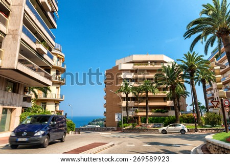 MONACO, MONTE CARLO - JULY 22, 2013: Street view of the city of Montecarlo in the Principality of Monaco.