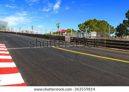 Monaco, Monte Carlo. Sainte Devote and Beau Rivage straight motor race asphalt on Grand Prix street circuit. - stock photo