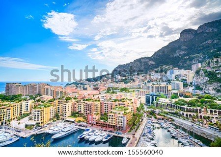 Monaco Montecarlo principality aerial view cityscape. Skyscrapers, mountains and marina. Azure coast. France, Europe. - stock photo