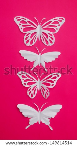 Monarch Butterfly and Great Mormon Butterfly isolated on pink background  - stock photo