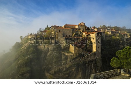 Monasteries of Meteora in Greece . - stock photo