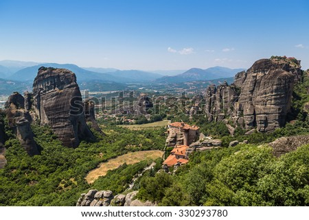 Monasteries on the top of rock in a summer day  in Meteora, Greece - stock photo