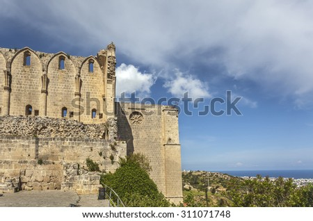 Monastery church in Bellapais near Kyrenia (Girne), North Cyprus - stock photo