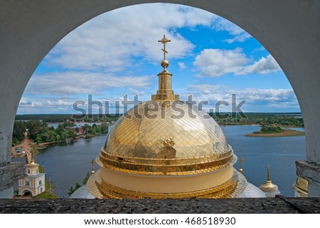 Monastery Nilov. View from the belfry of the dome of the Cathedral Epiphany and lake Seliger. Russia
