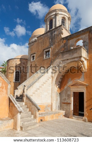 Monastery of Agia Triada Tsangarolon in the Akrotiri. Crete. Greece.