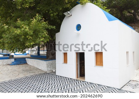 Monastery of Agios Ioannis Thymianos at Kos island in Greece - stock photo