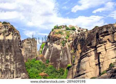 Monastery of Barlaam from Meteora, Greece - stock photo