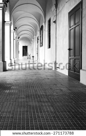 Monastery of Breme, colonnade. Black and white photo - stock photo