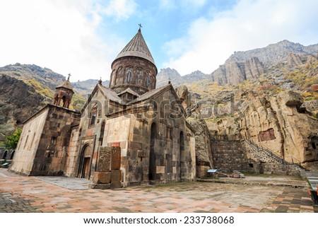 Monastery of Geghard, an Orthodox Christian monastery located in Kotayk Province of Armenia - stock photo