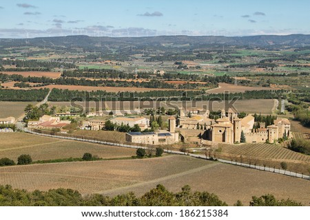 Monastery of Poblet, Spain,  UNESCO World Heritage Site - This Cistercian abbey in Catalonia is one of the largest in Spain. At its centre is a 12th-century church. - stock photo