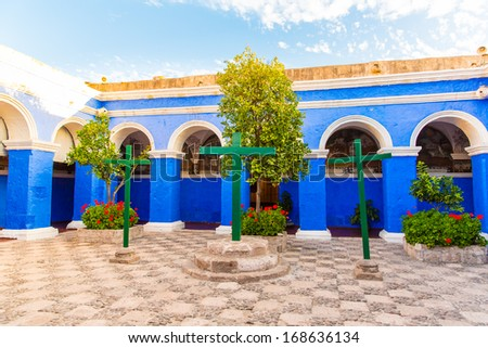 Monastery of Saint Catherine in Arequipa, Peru.(Spanish: Santa Catalina) is monastery of nuns of  Domincan Second Order,  It was built in 1580 in South America. - stock photo