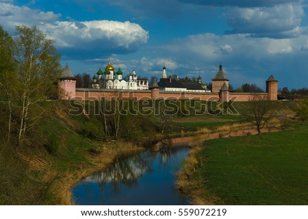 Monastery of Saint Euthymius on the high bank of Kamenka river in Suzdal, Russia.