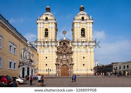 Monastery of San Francisco is located in Lima, Peru - stock photo