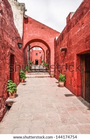 Monastery of Santa Catalina in Arequipa, Peru - stock photo