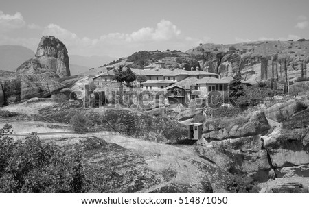 Monastery of the Holy Trinity, Meteora, black and white