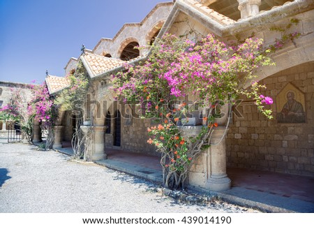Monastery on Mount Filerimos on Rhodes in Greece built by the Knights of Saint John. Doors to hermits cells - stock photo
